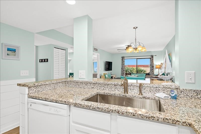 Coastal Kitchen to Living Area