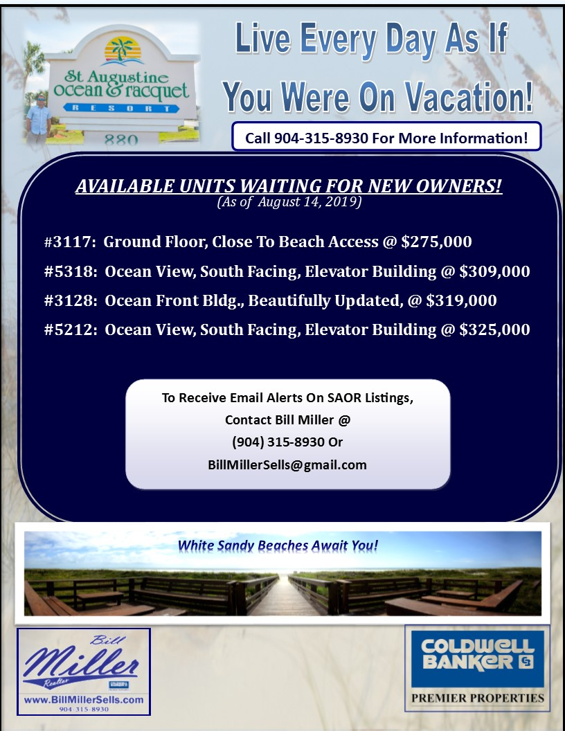Ocean and Racquet Units for Sale August