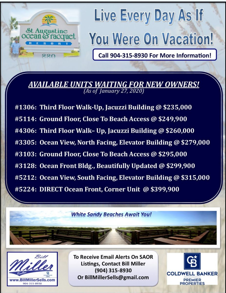 Units for Sale Ocean and Racquet